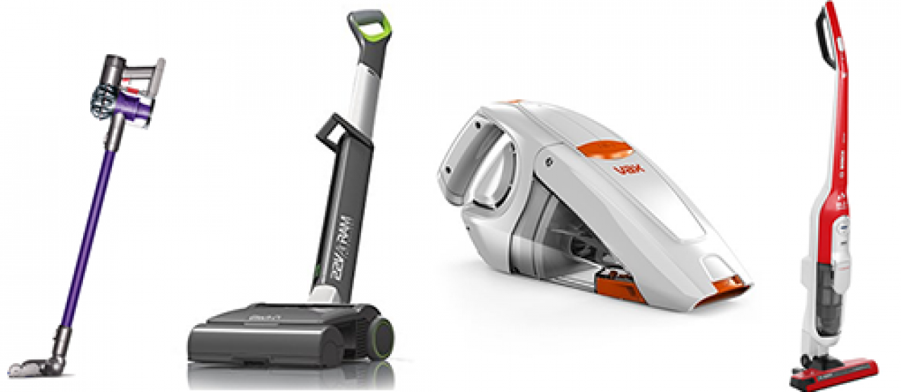A selection of cordless vacuums.